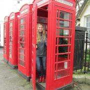 Morgan in telephone booth