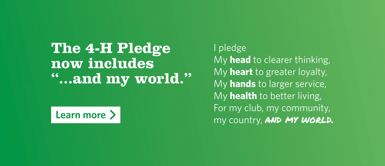 "The 4-H Pledge now includes ""...and my world"""